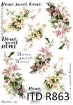 Papier ryżowy decoupage ITD Collection A4 Kwiaty, home sweet home