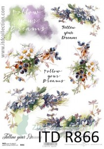 Papier ryżowy decoupage A4 ITD Collection Kwiaty, follow your dreams
