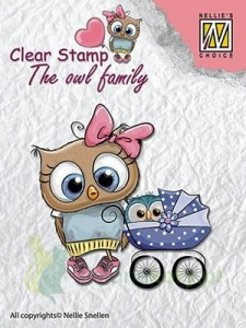 Stempel Nellie's Choice The Owl Family sowa z wózkiem