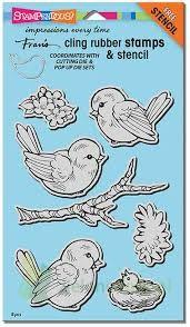 Stempel Szablon Stampendous Cling Spring Tweets Ptaki Zielonekotypl