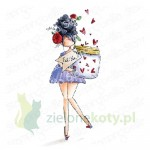 Stempel Stamping Bella Curvy girl with a jar of hearts dziewczyna