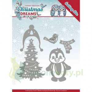 Wykrojnik Yvonne Creations Christmas Dreams choinka pingwin