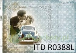"Papier ryżowy decoupage ITD Collection A3  ""Just Married"" ślub"
