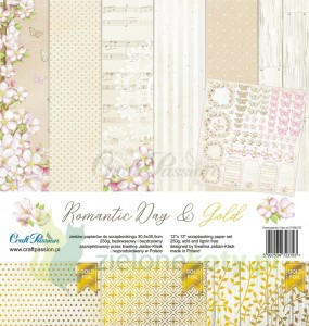 Zestaw papierów 30x30 Craft Passion Romantic Day & Gold