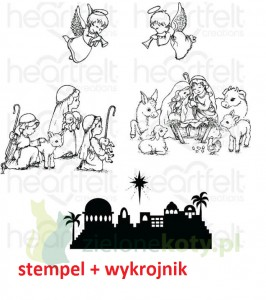 Stemple+ wykrojniki Heartfelt Creations O Holy Night  szopka