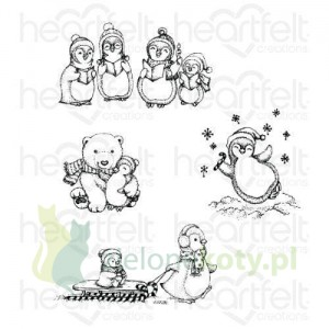 Wykrojnik + stempel Heartfelt Creations Merry Moments Pingwinki