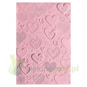 Folder do embossingu Sizzix Hearts serca tło