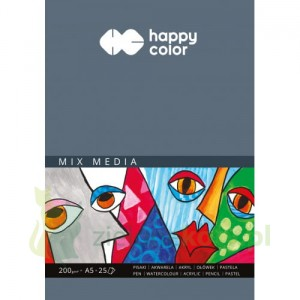 Blok papier MIX MEDIA Happy Color A5 200g 25k