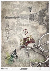 Papier ryżowy decoupage ITD Collection  A4 rower, Paris