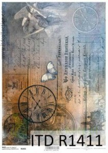 Papier ryżowy decoupage ITD Collection A4 Zegar Napisy Vintage