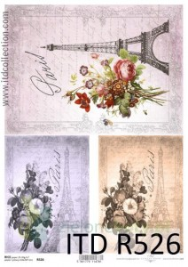 Papier ryżowy decoupage ITD Collection A4 Paris x
